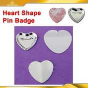 Heart Shape 53x57.5mm 100sets Pin Badge Button Parts Supplies for Maker Machine
