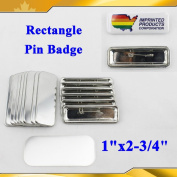 "Asc365 Rectangle 1""x2-3/4"" 25x70mm Pin Badge Button Parts Suppliesmachine Badge"