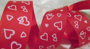 Grosgrain Ribbon - *Red Hearts* 2.2cm W - 25 Yards Roll