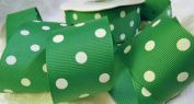 Grosgrain Ribbon - *Emerald Green Polka Dots* 3.8cm Wide - 25 Yard Roll