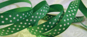 Grosgrain Ribbon - *Emerald Green Swiss Dots* 1cm Wide - 25 Yard Roll