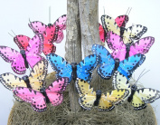 Butterflies on Wire Plant Stake Stems Floral Wedding Decorations Spring Pastel Colours Artificial 8.9cm Wingspan on 20cm Metal Wires - Set of 12 Assorted