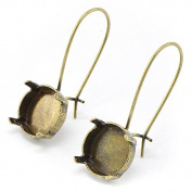 Antique Brass 5 pairs 12mm Rivoli Hook Earring base. Empty earring settings for jewellery making