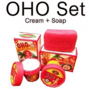 3 SET : 100g. OHO Soap + 50g. Cream SET Gluta White Collagen Clear Dark Spot Bikini Knee Elbow