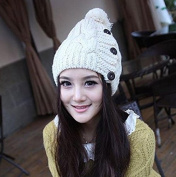 New Arrival Korean New Winter Warm Wool Knitted Hats with Button Twist Berets Cap Women Beanies Hat