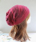 Hot 2016 New Fashion 100% Cotton Striped Winter Hat Red Women Beanie (Red