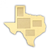 80cm (8x 10 & 5x 7 Photos) State of Texas Multi-Picture Frame w/ Hanger, Backing & Glass Unfinished DIY Wooden Craft Cutout to Sell Stacked