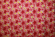 All over Plumeria and Hibiscus flower print Pink rayon fabric print