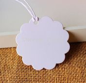 500 Pieces White Flower shape Gift Tag , Kraft Scallop Paper Hang tag ,Gift Packaging Label tag