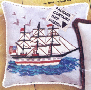 """36cm Pillow Kit for colourful embroidery with yarn - """"Clipper Ship"""""""