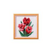Orchidea ORC.7517 Mini Kit 14 Count White Aida Tulip Cross Stitch Kit 11 x 11cm