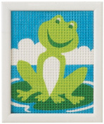 Vervaco 1320/2530 | Large Hole Canvas Frog Picture Tapestry Kit | 12.5 x 16cm