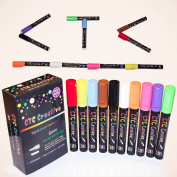 CTC Creative Liquid Chalk Markers|10 Colour Premium Artist Quality Marker Pen Set| 6 mm Reversible Chisel to Bullet Point Tips | Use for Glass, Whiteboards, Metal, Menu Boards, Child Safe, Non Toxic