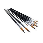 Marrywindix 9pcs Round Pointed Tip Nylon Hair Artists Watercolour Paint Brush Set Acrylic Oil Painting Brush black