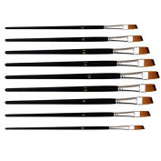 Marrywindix 9pcs Flat Pointed Tip Nylon Hair Acrylic Watercolour Brush Artists Paint Brush Set Black