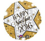 43cm Gold and Glitzy Happy New Year 2016 Balloon, 1-pc