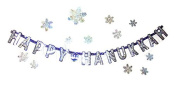 Happy Hanukkah Letter Banner and Laser Snowflake Cutouts Decorations