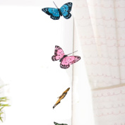 3D Butterfly Hanging Garland - Teenage Girl Room Decor - Baby Nursery Wall Decor Window Treatment Idea - Baby Shower Gift for Baby Girl - Patio Party Decoration Assorted Bright Colours Artificial 8.9cm Wingspan 110cm Long String Hang From Curtain Rod