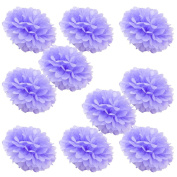 WYZworks Set of 10 - LAVENDER 36cm - (10 Pack) Tissue Pom Poms Flower Party Decorations for Weddings, Birthday, Bridal, Baby Showers, Nursery, Décor