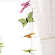 3D Butterfly Hanging Garland - Teenage Girl Room Decor - Baby Nursery Wall Decor Window Treatment Idea - Baby Shower Gift for Baby Girl - Patio Party Decoration Assorted Bright Colours Artificial 13cm Wingspan 110cm Long String Hang From Curtain Rod