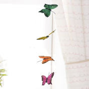 3D Butterfly Hanging Garland - Teenage Girl Room Decor - Baby Nursery Wall Decor Window Treatment Idea - Baby Shower Gift for Baby Girl - Patio Party Decoration Assorted Bright Colours Artificial 11cm Wingspan 110cm Long String Hang From Curtain Rod