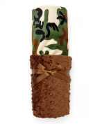 Elonka Nichole Baby Boy Original Mimi Receiving Blanket, Camo, Brown/Black/Tan/Green
