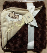 Mini Muffin super soft ultra plush brown Dreaming Bear moon stars baby blanket 80cm x 90cm