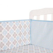 Tillyou 100% Cotton Sateen Crib Bumper, Blue Stripe Petal