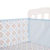 Tillyou 100% Cotton Sateen Crib Bumper, Blue Stripe Petal