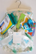 Baby Multi Green, Blue, White Blanket, Baby Wash Cloths & Rattle Gift Set