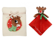 Rudolf My First Christmas Blanket and Plush Security Toy with Rattle Head
