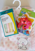 Baby Animal Pink Blanket, Rattle & Wash Cloth Gift Set