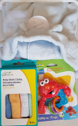 Blue Hooded Plush Blanket Gift Set w/Baby Wash Cloths & Elmo Rattle