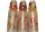 3 Parent's Choice Bottles, 270ml, Slow Flow, for 0+ Months Orange, Green & Red