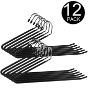Ipow Heavy Duty Slacks/Trousers Hangers Open Ended hanger Easy Slide Organisers, Metal rod with a large diameter, Chrome and Black Friction. Set of 12