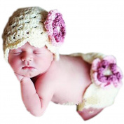 Jubileens Baby Kids Infant Toddler Girl Beanie Knit Hat Big Flower Photography Prop set