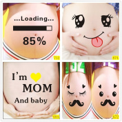 Bango 3d Mommy and Daddy Maternity Photography Props for Pregnant Women Belly Painting Photo Stickers 5 Pcs BGPS005F