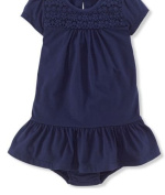 Ralph Lauren Baby Girls Ruffled Dress - Blue Colour - 12 Months