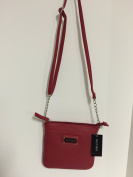 Ellen Tracy Salsa Red Saffiano Leather Mariah Cross Body Bag