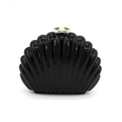 Kingluck Acrylic Shell Evening Cluth Handbag Puse in Black Colour