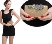 Pulama Coloured Rhinestone Peacock Clasp Handbag Evening Bling Cocktail Wedding Clutch