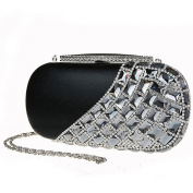 Alizeebridal Women's Rhinestone Beaded Hard Mini Evening Bag with detachable Chain