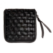 ZLYC Women Vintage Hand Woven Cow Leather Zipper Money Pouch Wallet Card Holder