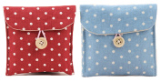 iSuperb® Sanitary Napkins Bag Menstrual Cup Pouch Nursing Pad Holder Cute Polka Dot Cotton 12cm x 12cm Washable Organiser Storage 2 Pack 1 PCS Wine Red and 1 PCS Blue