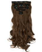 Haironline 43cm 8pcs Fashional Clips in Hair Extensions Hairpieces Curly Vary Colours for Women Beauty Cosplay Dress Party Light Brown