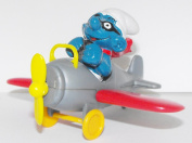 Brainy Smurf Flying an Aeroplane Figure Toy