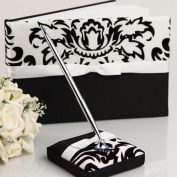 KateMelon Florish in Classic Black and White Wedding Guest Book with Pen Set