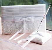KateMelon Vintage Organza Guest Book with Pen Set - White