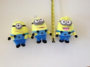 Minions Plush Toys Jorge, Stewart and Dave with Bonus Stickers Bundle--stocking stuffers