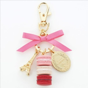 LADUREE Keychain Ring Eiffel Tower Macaron Charm S -ROSE